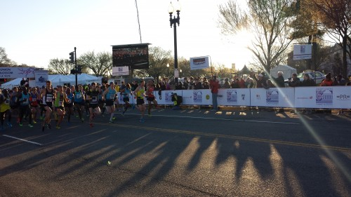 The elite men start the 42nd Credit Union Cherry Blossom 10 Mile Run