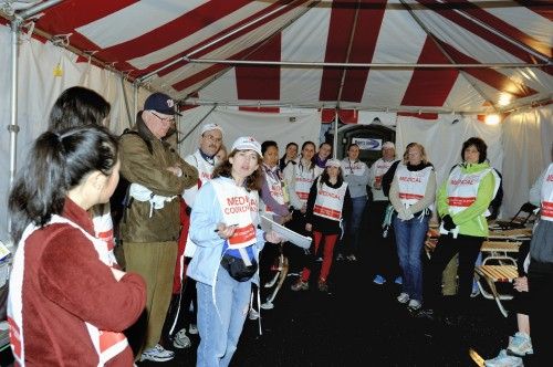 Medical volunteers get their morning briefing before race day 2013