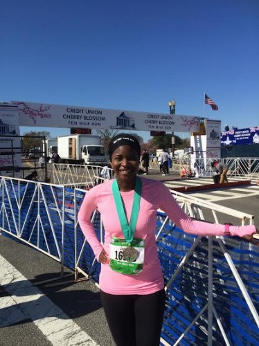Jummy at the finish line of the 2014 Credit Union Cherry Blossom 10 Mile Run